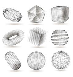 Digital geometric shapes set vector