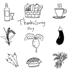 Doodle of vegetable set thanksgiving art vector image