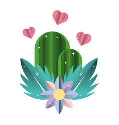 Ecology mountains with hearts and flowers plants vector