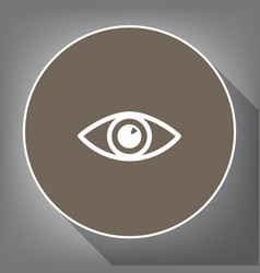 eye sign white icon on brown vector image