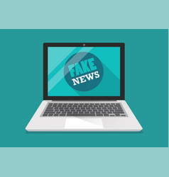 fake news word on laptop vector image