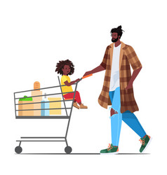 Father with little daughter in trolley cart buying vector