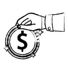 figure businessman hand with coin cash money vector image