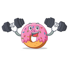 Fitness fitness donut character cartoon style vector