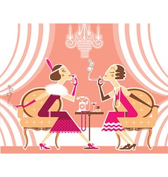 Flapper girls talking and smoking cigarettes vector