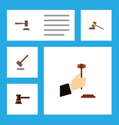 Flat icon lawyer set of legal tribunal court and vector