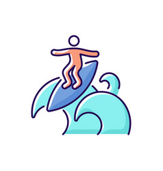 Floater surfing technique rgb color icon vector