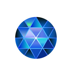 gem stone round diamond on white polygonal vector image