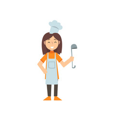 Girl chef character with ladle kid dreaming of vector