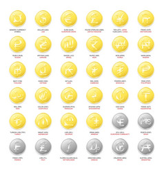 Gold and silver coins with symbols top world vector