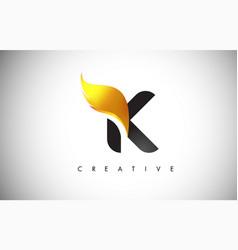 gold k letter wings logo design with golden bird vector image