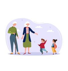Grandchildren and grandparents concept vector