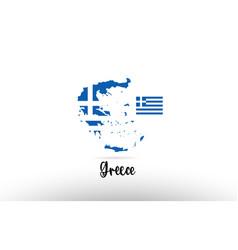 greece country flag inside map contour design vector image