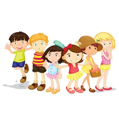 Group boys and girls vector