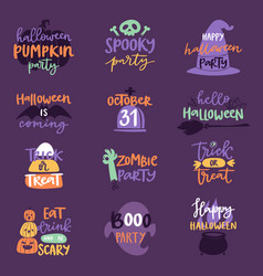 Halloween day celebration invitation logo text vector