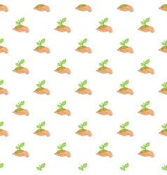 Hand holding sprout pattern cartoon style vector