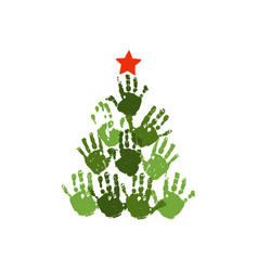 handprint christmas tree with red handdrawn star vector image