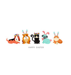 happy easter card dogs and cats wearing bunny vector image