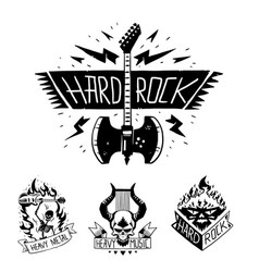 Heavy rock music badge vintage label with vector