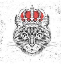 Hipster animal cat in crown hand drawing muzzle vector