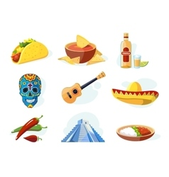 icon set with traditional mexican elements vector image