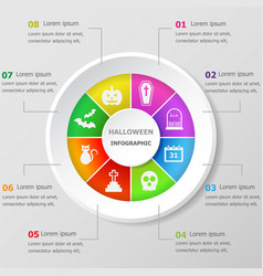 infographic design template with halloween icons vector image
