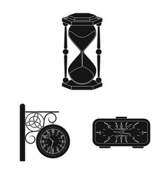 isolated object of clock and time sign set of vector image
