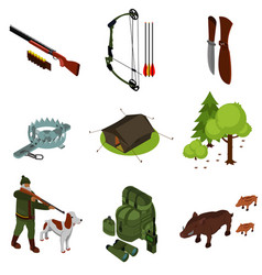 isometric hunting set vector image