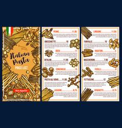 Italian cuisine pasta menu template vector