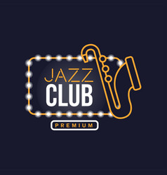 Jazz club neon sign vintage bright glowing vector