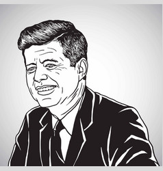 John f kennedy jfk portrait cartoon drawing vector