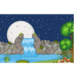 Landscape background design with waterfall at vector