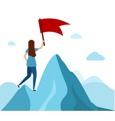 leader holding a flag on mountain peak business vector image