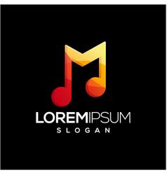letter m music logo design vector image
