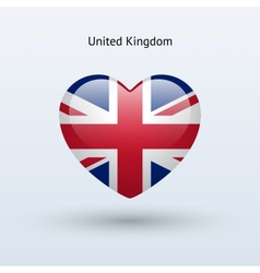 Love United Kingdom symbol Heart flag icon vector image vector image