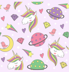 Magic seamless pattern with unicorn and planets vector