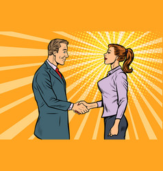 man and woman businessman handshake vector image