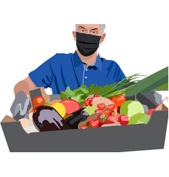 Man wearing blue t-shirt surgical mask and gloves vector