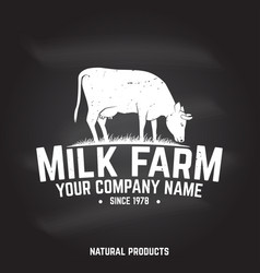 milk farm badge or label vector image
