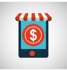 Mobile phone e-commerce and money currency vector