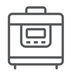 Multicooker line icon kitchen and cooking vector