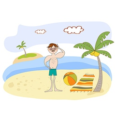 Muscle man on the beach vector