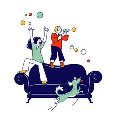 naughty hyperactive children characters little vector image