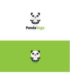 Panda yoga logo meditating panda bear mascot vector
