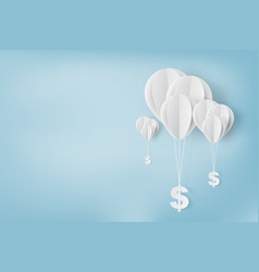paper art of balloon with dollar sign vector image