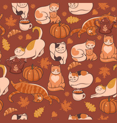 pattern with cats pumpkins and leaves autumn vector image