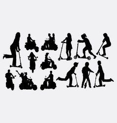 people riding scooter silhouettes vector image