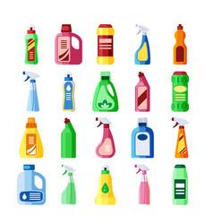 plastic bottles with detergent set bottles of vector image