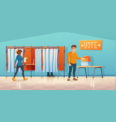 Polling place with voting booth at election day vector
