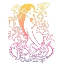 Pregnant woman in flowers vector